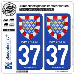 2 Autocollants plaque immatriculation Auto 37 Indre-et-Loire - Armoiries