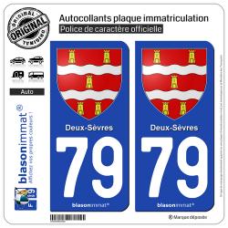 2 Autocollants plaque immatriculation Auto 79 Deux-Sèvres - Armoiries