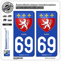 2 Autocollants plaque immatriculation Auto 69 Lyon - Armoiries