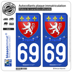 2 Autocollants plaque immatriculation Auto 69 Lyon - Armoiries II