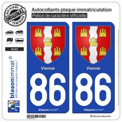 2 Autocollants plaque immatriculation Auto 86 Vienne - Armoiries