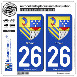 2 Autocollants plaque immatriculation Auto 26 Drôme - Armoiries