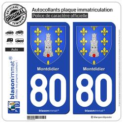 2 Autocollants plaque immatriculation Auto 80 Montdidier - Armoiries