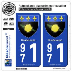 2 Autocollants plaque immatriculation Auto 971 Guadeloupe - Armoiries