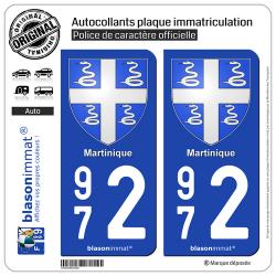 2 Autocollants plaque immatriculation Auto 972 Martinique - Armoiries