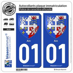 2 Autocollants plaque immatriculation Auto 01 Ain - Armoiries