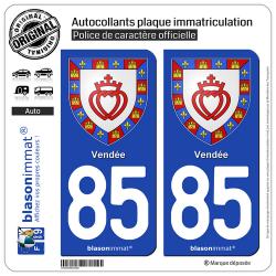 2 Autocollants plaque immatriculation Auto 85 Vendée - Armoiries