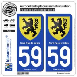2 Autocollants plaque immatriculation Auto 59 Nord-Pas de Calais - Armoiries