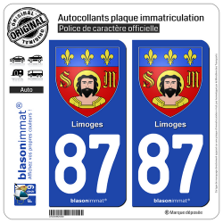 2 Autocollants plaque immatriculation Auto 87 Limoges - Armoiries