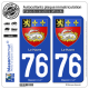 2 Autocollants plaque immatriculation Auto 76 Le Havre - Armoiries