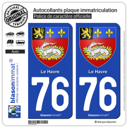 2 Autocollants plaque immatriculation Auto 76 Le Havre - Armoiries