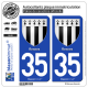 2 Autocollants plaque immatriculation Auto 35 Rennes - Armoiries