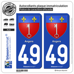 2 Autocollants plaque immatriculation Auto 49 Angers - Armoiries