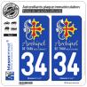 2 Autocollants plaque immatriculation Auto 34 Thau - Archipel II