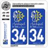 2 Autocollants plaque immatriculation Auto 34 Thau - Archipel