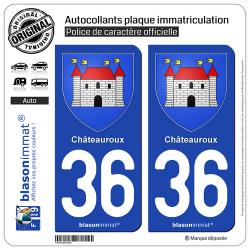 2 Autocollants plaque immatriculation Auto 36 Châteauroux - Armoiries