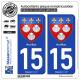 2 Autocollants plaque immatriculation Auto 15 Aurillac - Armoiries