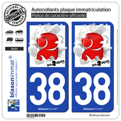 2 Autocollants plaque immatriculation Auto 38 Les 2 Alpes - Station