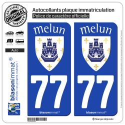 2 Autocollants plaque immatriculation Auto 77 Melun - Ville