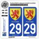 2 Autocollants plaque immatriculation Auto 29 Pont-l'Abbé - Armoiries