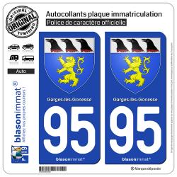 2 Autocollants plaque immatriculation Auto 95 Garges-lès-Gonesse - Armoiries