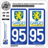 2 Autocollants plaque immatriculation Auto 95 Garges-lès-Gonesse - Ville