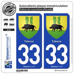 2 Autocollants plaque immatriculation Auto 33 Talence - Armoiries