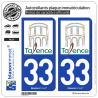 2 Autocollants plaque immatriculation Auto 33 Talence - Ville