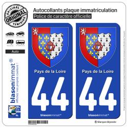 2 Autocollants plaque immatriculation Auto 44 Pays de la Loire - Armoiries