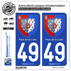 2 Autocollants plaque immatriculation Auto 49 Pays de la Loire - Armoiries