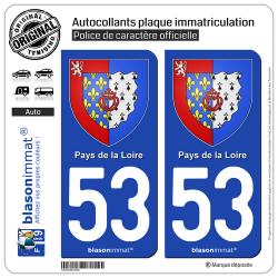 2 Autocollants plaque immatriculation Auto 53 Pays de la Loire - Armoiries