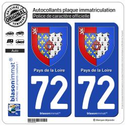 2 Autocollants plaque immatriculation Auto 72 Pays de la Loire - Armoiries