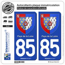 2 Autocollants plaque immatriculation Auto 85 Pays de la Loire - Armoiries