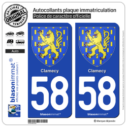 2 Autocollants plaque immatriculation Auto 58 Clamecy - Armoiries