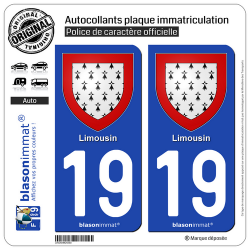 2 Autocollants plaque immatriculation Auto 19 Limousin - Armoiries