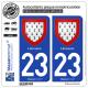 2 Autocollants plaque immatriculation Auto 23 Limousin - Armoiries