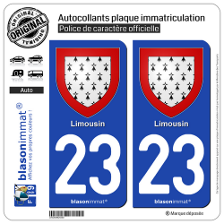 2 Autocollants plaque immatriculation Auto 23 Limousin - Armoiries