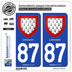 2 Autocollants plaque immatriculation Auto 87 Limousin - Armoiries