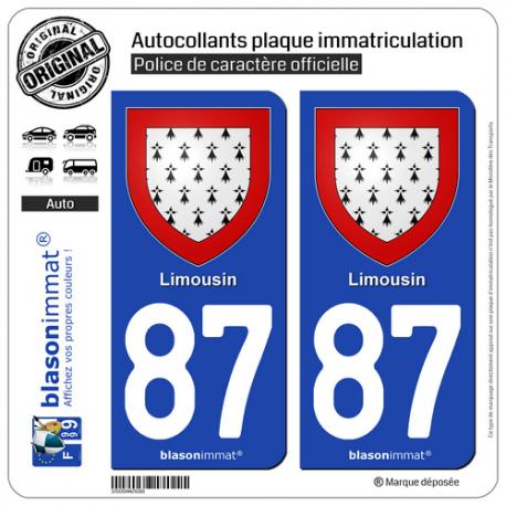 2 Autocollants plaque immatriculation Auto 87 Limousin - Armoiries