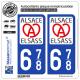 2 Autocollants plaque immatriculation Auto 678 Alsace - LogoType II