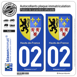 2 Autocollants plaque immatriculation Auto 02 Hauts-de-France - Armoiries