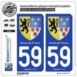 2 Autocollants plaque immatriculation Auto 59 Hauts-de-France - Armoiries