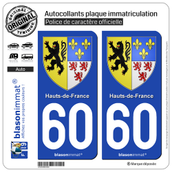 2 Autocollants plaque immatriculation Auto 60 Hauts-de-France - Armoiries