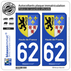 2 Autocollants plaque immatriculation Auto 62 Hauts-de-France - Armoiries