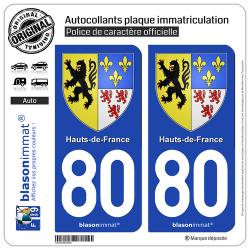 2 Autocollants plaque immatriculation Auto 80 Hauts-de-France - Armoiries