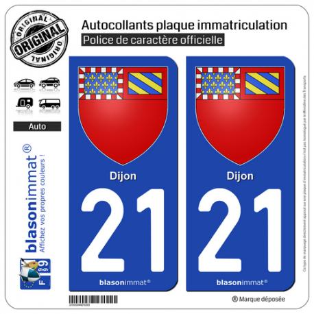 2 Autocollants plaque immatriculation Auto 21 Dijon - Armoiries