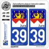 2 Autocollants plaque immatriculation Auto 39 Jura - Drapé