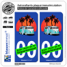 2 Autocollants plaque immatriculation Auto Van Snowboards