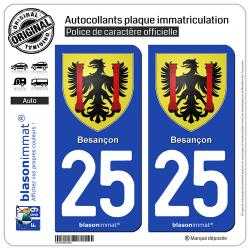 2 Autocollants plaque immatriculation Auto 25 Besançon - Armoiries