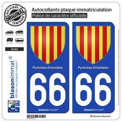 2 Autocollants plaque immatriculation Auto 66 Pyrénées-Orientales - Armoiries